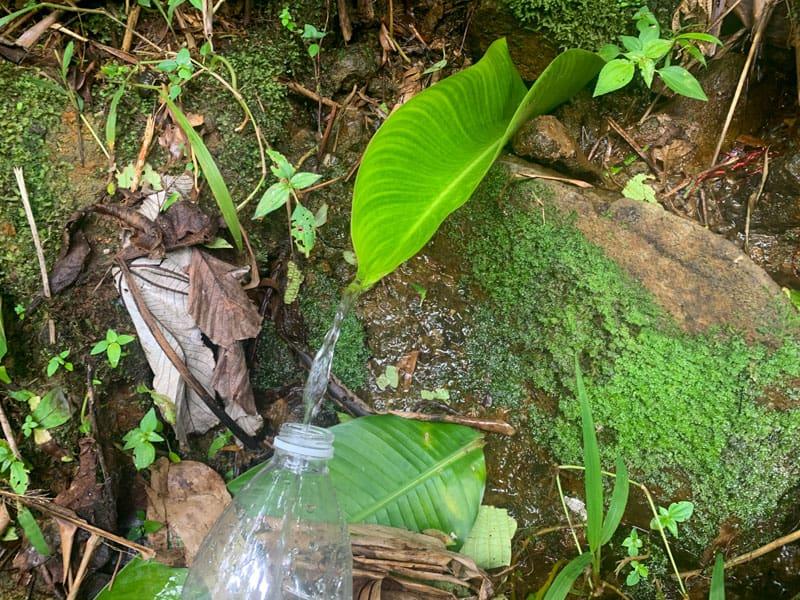 filling water bottle in jungle
