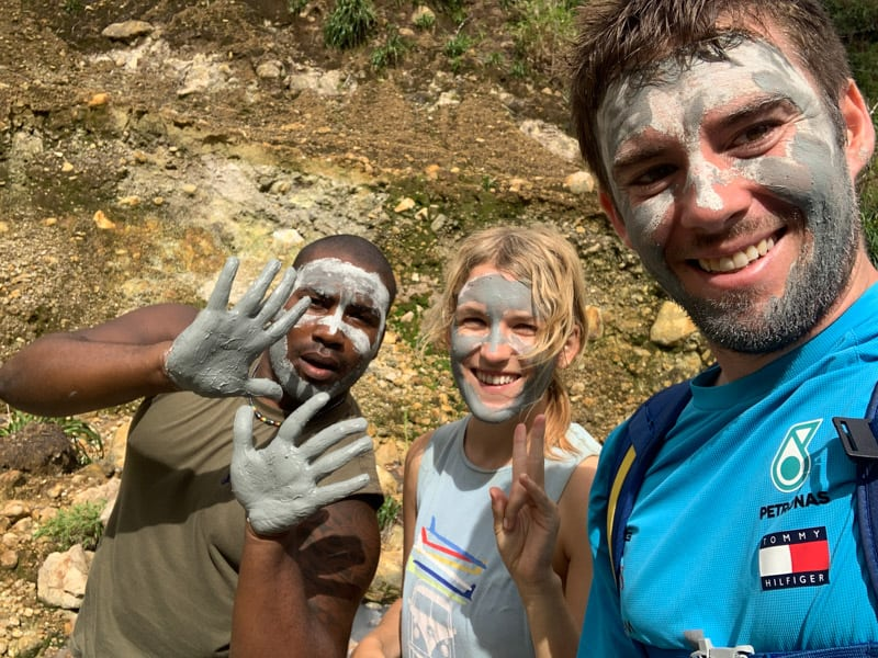 clay facials on the boiling lake hike