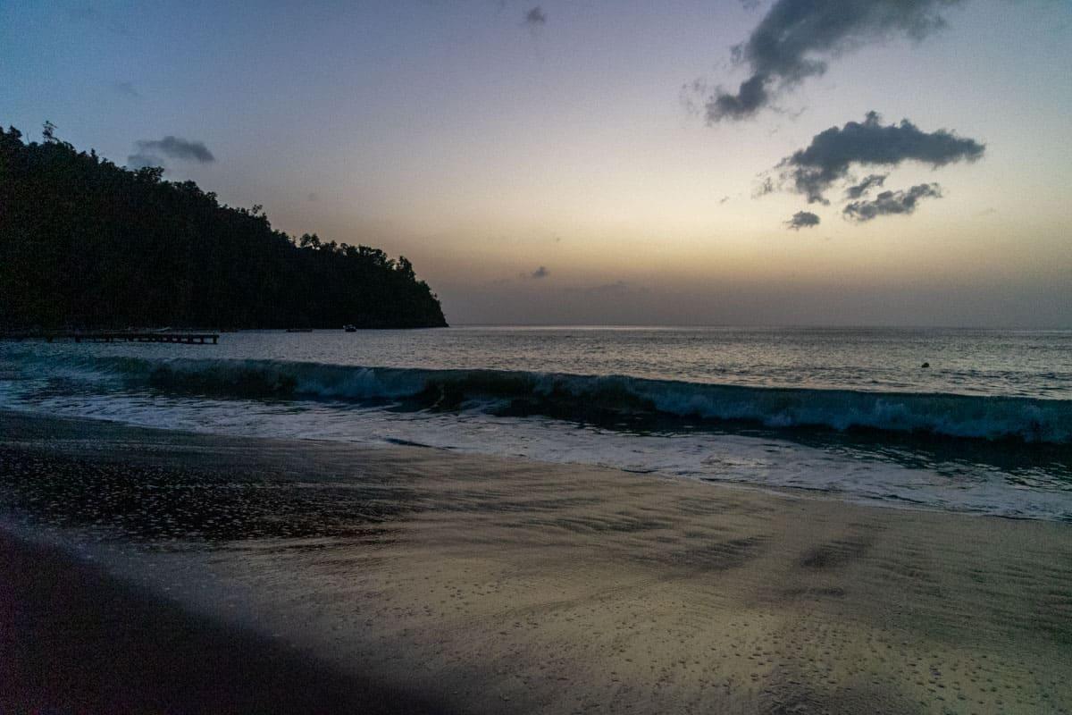 black sand beach dominica